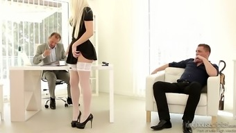 Gorgeous maid Blanche Bradburry gets sandwiched after a wonderful blowjob
