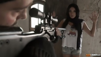 Sniper fucks fucking warm seductress with major boobs Anissa Kate