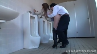 Japanese milf delivers and gets fucked within the public bathing room