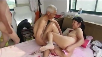 Asian Grand father Trio with age woman