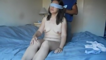 Eastern wifey tied up and prepared to be fucked along with big dildo