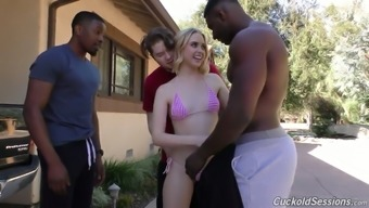 Several dark colored fellas fuck sex-hungry hole of blond girl Chloe Couture