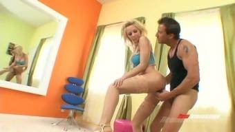 Attractive partner hack on top of her boyfriend with macho neighbor
