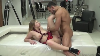 French language seductress Anissa Kate can take role over the edge threesome sex