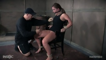 Hogtied passive slut Maddy Oreilly gets her nipples fastened very difficult