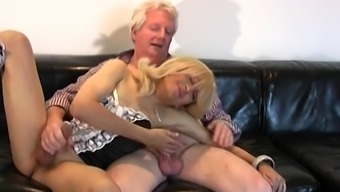 Blond whimp gets wayward through use of an old man