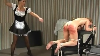 Naughty maid gets to throw the book at a kinky date by knocking her along with a stick