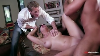 plus size blond babe with genuine titties gets blindfolded then drilled extreme