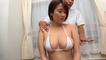 Big tits Oriental chick spas a delightful cock together your mouth