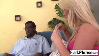 Blond Julie Cash and her major titties want for dark colored cock