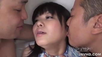 Haruka Miura gets two males to bang her fresh holes