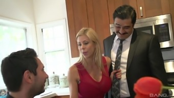 Alexis Fawx cuckolds her man and fucks and swallows cum in the kitchen