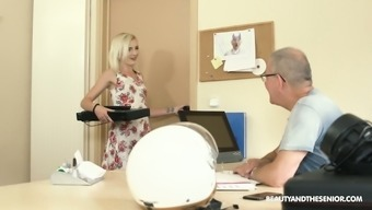Old fart enjoys fucking sweet looking young secretary Tyna Gold