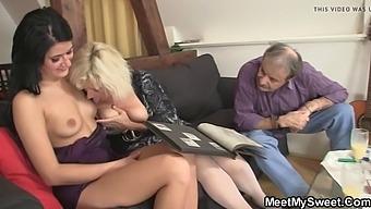 Old couple seduce son&#039s gf into threesome