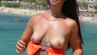 Hot and charming Charlotte P is proudly flashing her juicy ass in bikini
