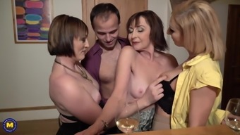 Sex party with desperate moms and single son