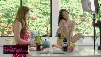 When girls play jade baker , lena paul cooking show