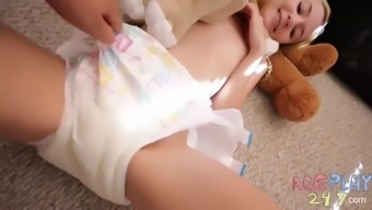 Diaper tickle pee then changing
