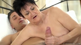 Mature amateur short haired granny Anastasia gets the fuck of her life