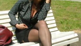Laura italian slut in a public park