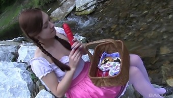 Solo brunette teen with pigtails Morgan Rodriguez masturbates outdoors