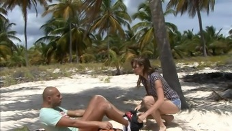 Busty blonde slut Tarra White pounded on the beach in a miniskirt