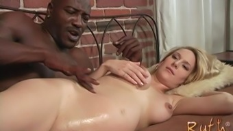 Pregnant blonde slut Ruth Blackwell pounded by a big black dick