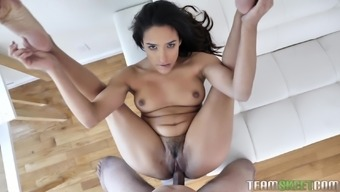 Hardcore pussy fuck and a blowjob from brunette MILF babe Adrian Hush