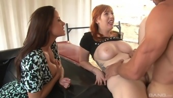 Redhead MILF Lauren Phillips pussy fucked while her friend watches