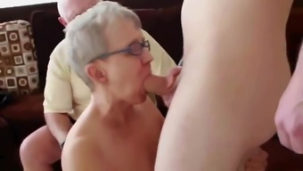 Horny Granny and Husband Invite a Young Stud to Fuck Her
