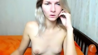 Small tit blond novice things her pussy til height