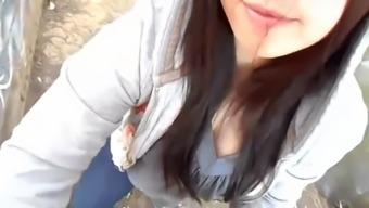 Asiatica mamado en el parque