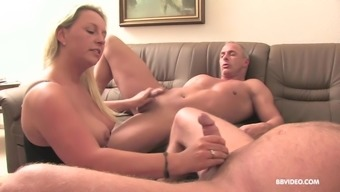 Pierced mature brunette takes cum from an old guy's small dick