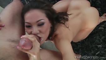 Lovable svelte GF Kalina Ryu wanks and blows cock like a weird slut