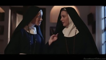 Horny nun Kenna James thirsts to eat wet pussy in the evening
