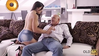 Hottie with round boobs anally impaled by experienced partner