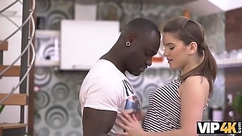 VIP4K. Brunette chick isnt alone because black man appears in time