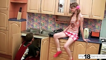 Skinny Teen Deepthroat and Doggystyle Sex with Plumber