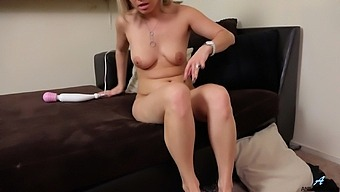 Mature blonde lady Alana Luv opens her legs to finger her cunt