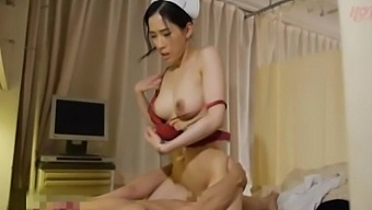 Nice fucking on the hospital bed with an adorable Japanese nurse