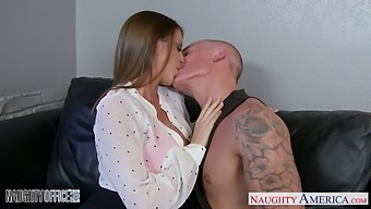 Reception girl Brooklyn Chase sucks a dick and gets laid