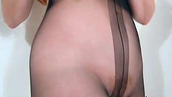 Big tit mature Red XXX gets off in her sexy nylons