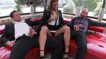 Slutty desk Alexis Sparkling is double penetrated using a duo of associates