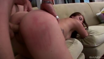 Leggy young adult babe with a curvy ass tours a man's tender very difficult junk