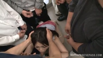 Japanese people hen blows cocks within a public bus and gets cum with her major boobs