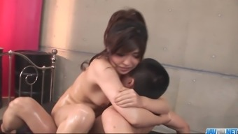 Busty and oiled up girl Vaje Okada junk being intimate with and humping