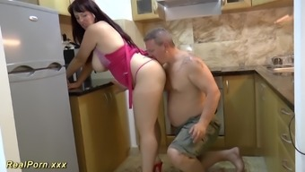Intense big naturally-occuring bust big beautiful woman MILF loves throat gagging and offers a hot footjob
