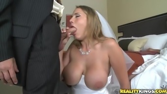 tramp with great titties gets fucked in wedding gown