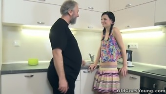 Beautiful stud leaved his GF and horny grand father alone upon the kitchenette to let these guys have intercourse