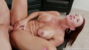 Pale flavorful and large bottomed brunette cowgirl gets her twat nailed